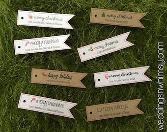 Merry Christmas Tags - 30 Small Pennant Custom Christmas Gift Tags - Personalized Gift Tags / Party Tags / Xmas Tags / Business Tags