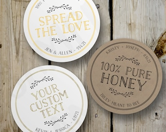 Custom Spread the Love Stickers, Vintage Honey Jar Round Stickers, Printed Honey Favor Labels, Personalized Wedding Favors, White Kraft