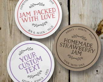 Custom Jam Packed with Love Stickers, Vintage Homemade Jam Round Stickers, Printed Jam Jar Labels, Personalized Wedding Favor, White Kraft