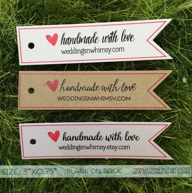 Handmade with Love Tags 30 Custom Pennant Gift Tags  Favor Tags Wedding Tags  Shower Tags  Birthday Tags  Business Tags White Kraft