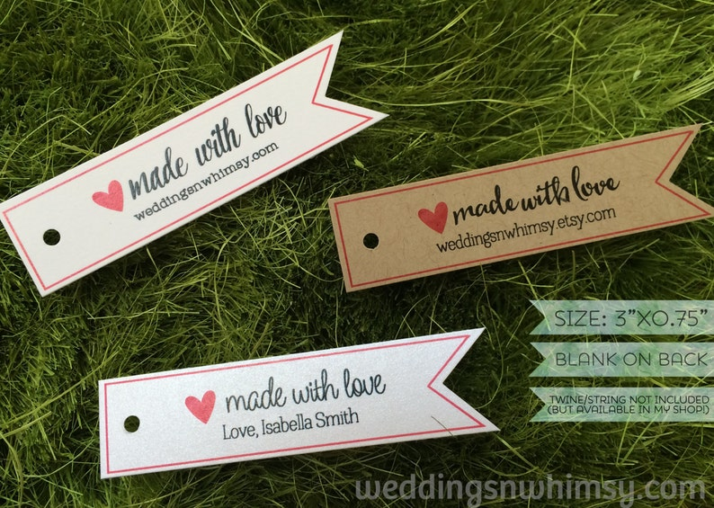 Made with Love Tags  30 Pennant Custom Gift Tags / Favor Tags image 0