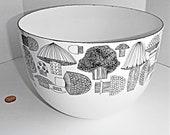 Vintage Finel Mushroom Enamel Black and White Bowl Kaj Franck Signed Mid Century Serving Bowl Signed 1960 39 s