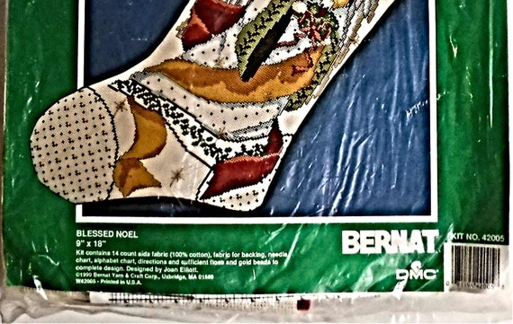 "New Old Stock 1977 BERNAT NOEL CHRISTMAS STOCKING Kit w// Angel 9/""x18/"" Vintage !"