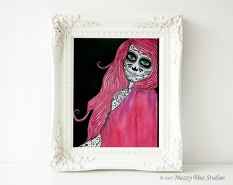"""Sugar Skull Girl Print Pink Red Black Spooky Haunted Girl """"She Disappears In The Light"""" Watercolor Art"""
