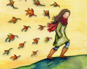 """Art Print Portrait of Girl In The Fall Autumn On A Walk Leaves Watercolor Painting Size 5x7 or 8x10 - """"Autumn Walk"""""""