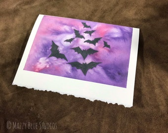Into The Twilight of The Night I Greeting Card I Stationary I Notecard of Bats In Sky