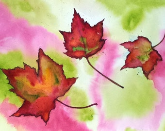 Notecards w/Envelopes Stationary Fall Autumn Leaves Single Card - Electric Cinnamon