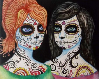 """Print Art Sugar Skull Day Of The Dead Spooky Haunted Girls Archival Pigment Ink Reperduction titled """"And No More Shall We Part"""""""