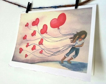"""Card Stationary Notecard Girl with Heart Balloons Watercolor Art called """"The LOVE We Keep"""""""