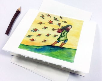 Stationary Card with Envelope Girl Fall Autumn Walk Leaves Watercolor Painting Print - A Long Walk On An Autumn Day - Free Shipping