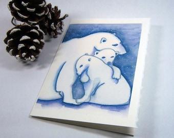 CHRISTMAS CARD Polar Bears Snow Blue Holiday Stationary Notecard w/Envelope
