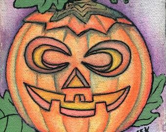 Pumpkin Jack Halloween Wall Art Print of a Watercolor Painting Signed by Artist Selina Farmer