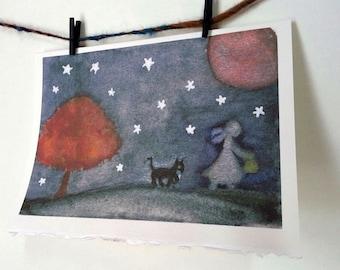 Card Spooky Haunting Halloween Ghost Kitty Watercolor Art - On A Dark Night