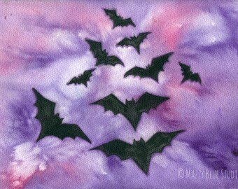 """Art Print """"Into The Twilight of The Night"""" Bats in the night sky"""