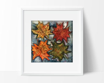 """Art Print Giclee Fall Autumn Leaves Water October Orange Yellow Red Watercolor Painting """"Leaves On Water"""" Size 5x7, and 8.5x11"""