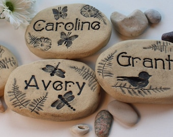 Personalized garden stones. Custom stones with Names. Nature-inspired Ceramics for outdoors. Dragonfly, hummingbird, moon & stars, flowers
