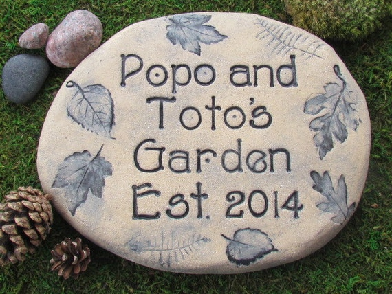 Personalized Garden Stones Custom Name Stone Garden Stone Sign Excellent Gift For Gardeners Woodland Designs Nature Motifs Birds Bees