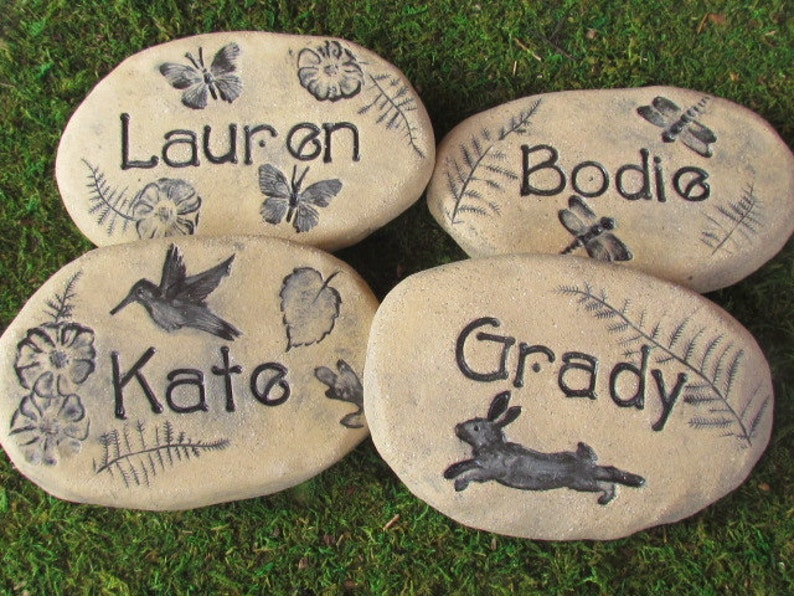 Personalized Garden Stones Custom Garden Stones W Name Choice Of Nature Inspired Artwork Dragonfly Hummingbird Moon Stars Flowers