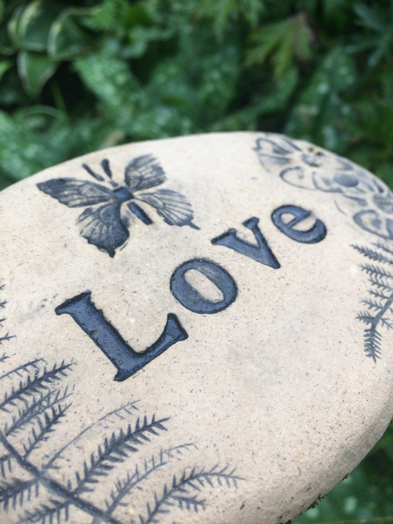 Word Love and butterfly etched into 4 brick stone Poem stones are sweet and elegant rustic and natural expression for home or garden