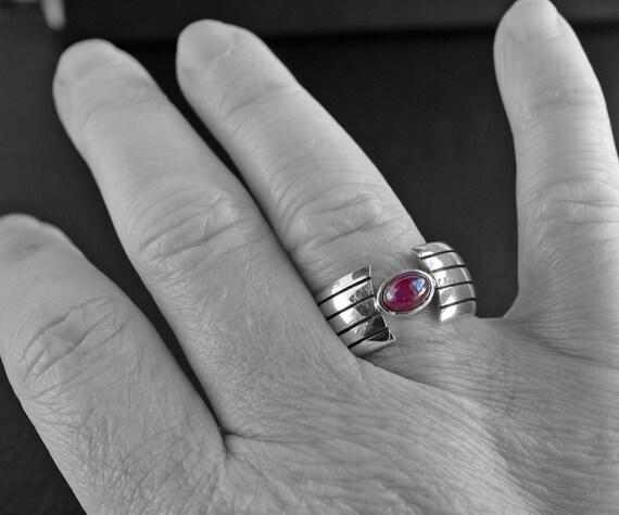 Heavy Ruby Silver Ring - Beautiful Minimalist Sil… - image 7