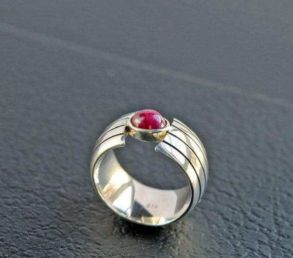 Heavy Ruby Silver Ring - Beautiful Minimalist Sil… - image 4