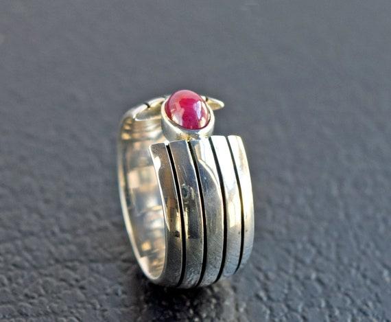 Heavy Ruby Silver Ring - Beautiful Minimalist Sil… - image 6