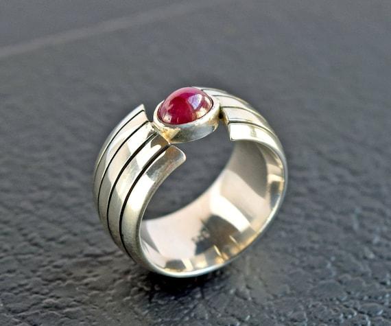 Heavy Ruby Silver Ring - Beautiful Minimalist Sil… - image 1