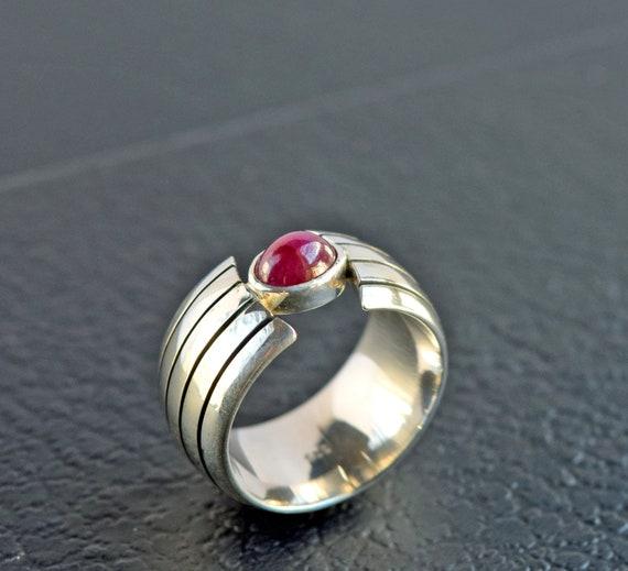 Heavy Ruby Silver Ring - Beautiful Minimalist Sil… - image 3