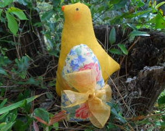 SPRING, Chick with Egg, Easter, Primitive