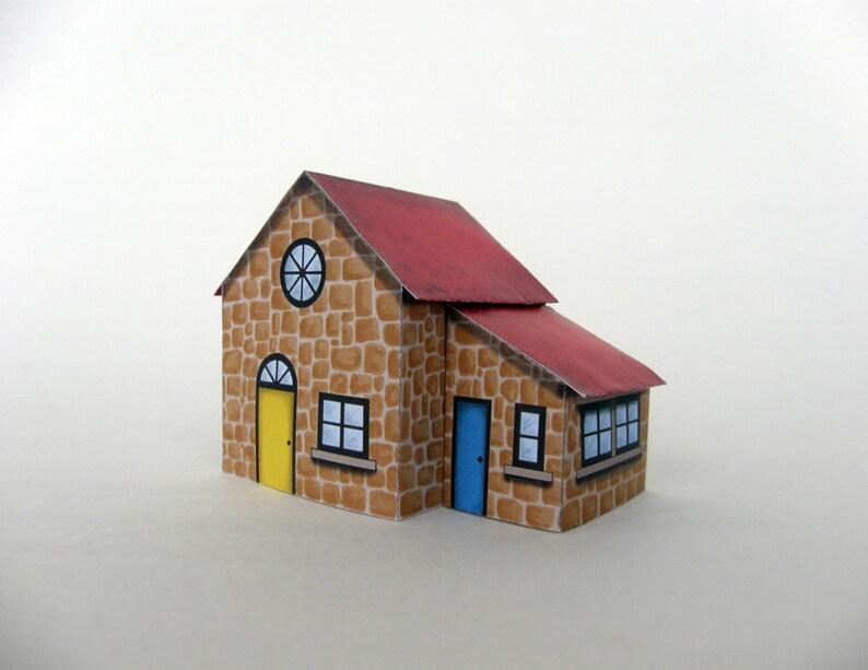 Printable Toy House - Download DIY Paper Cottage Decor - printable toy -  desktop shelf table decor home decor boy room decor miniature house