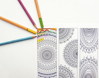 Tribal Bookmarks Coloring Page - Abstract Mandala Design Digital Download - Set of 4 Printable Bookmarks / Panels - geometric coloring page