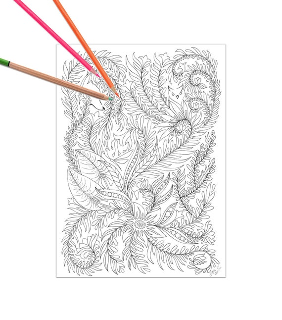 Bosque floral adultos página para colorear flores hojas fox | Etsy