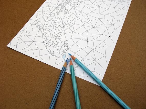 Página para colorear de adultos para imprimir triángulos de | Etsy