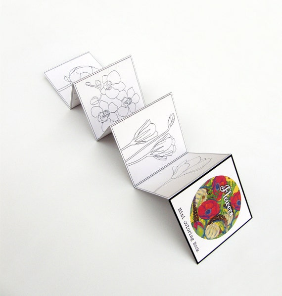 Mini Adult Coloring Book Flowers Pocket Size Travel Coloring Etsy