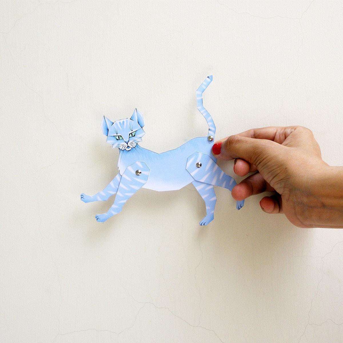 Papel DIY gato muñeca articulada - cat para imprimir - colorido ...