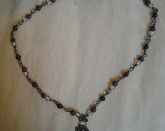 Earthy Beaded and Filigree Necklace
