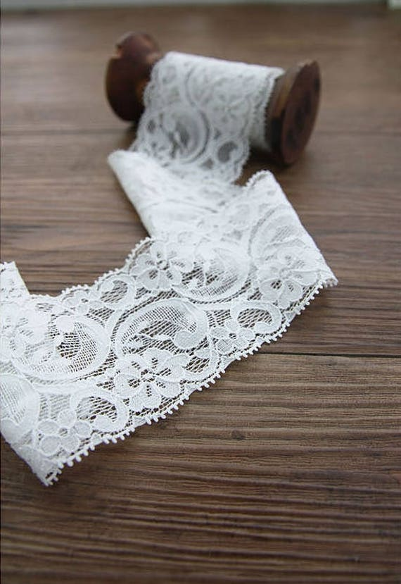 Floral Stretch Lace Trim by the yard width 6 cm 90388 | Etsy