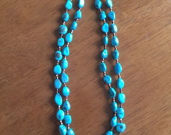 Natural Turquoise necklace, 2-strand, 18 inches