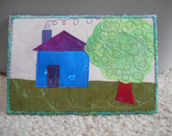 Quilted Art Postcard -- Cozy House