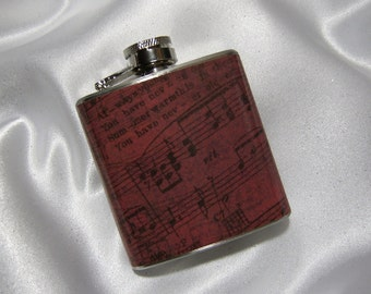 3 oz. Womens Flask Vintage Inspired Red Sheet Music   w/ Black Tote and Funnel