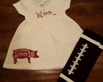 Woo Pig Sooie Arkansas Razorback baby dress WITHOUT leggings