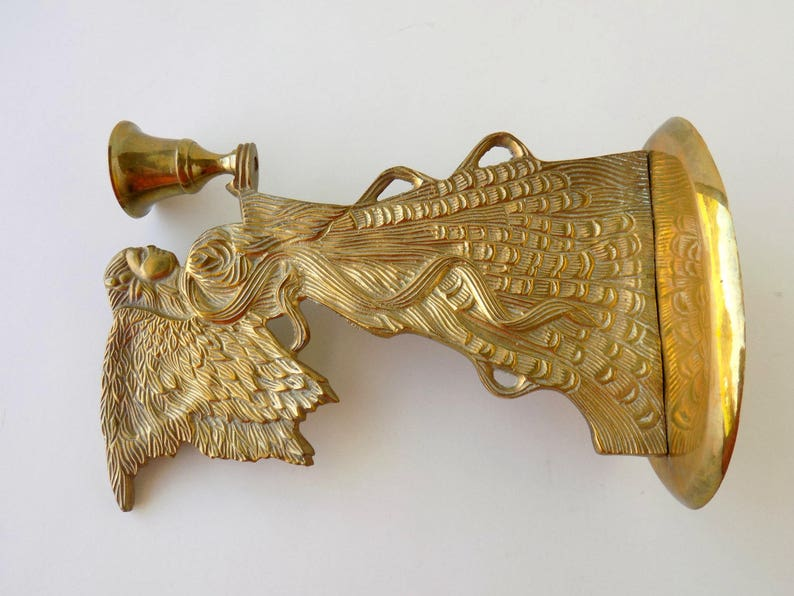 Christmas Decor Brass Candle Decor. Guardian Angel Candlestick Holder Brass Decor Brass Angel Candle Holder Brass Candle Holder