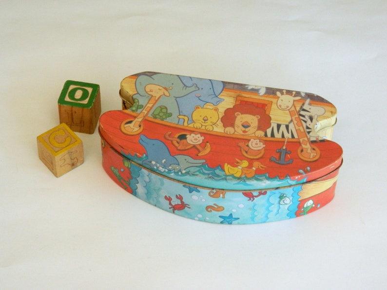 Children/'s Toy Nursery Decor Baby Shower Decor Baby Shower Gift Noah/'s Ark Tin Rustic Farmhouse Primitives. Kid/'s Storage Box