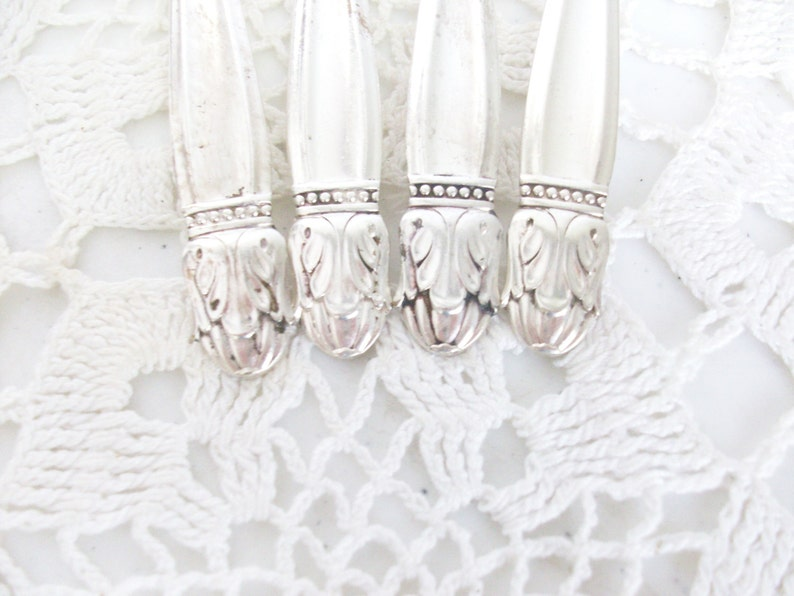 4 Silver Danish Princess Salad Forks 1938