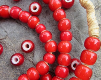 4mm Diameter x1 Antique Venetian Red White Hearts African Trade Bead 12 Necklace Strand 21 Grams