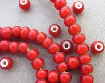 African Red 'White Heart' Beads