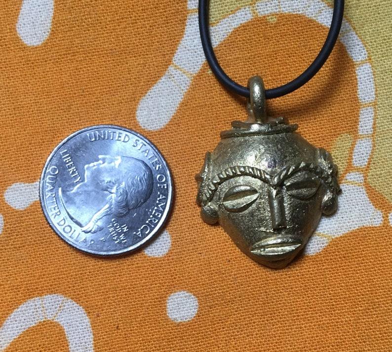 African Mask Cast Brass Pendant Necklace Tribal Mens Afrocentric Jewelry