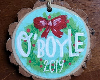 Personalized Handpainted Ornament | Wreath Design