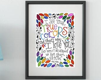 True Colors   Lyrics Print