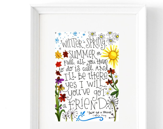 You've Got a Friend | Lyrics Print